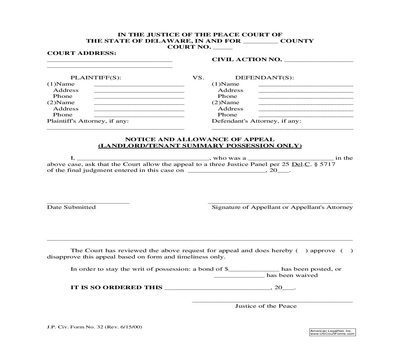 Notice And Allowance Of Appeal (Landlord Tenant Summary Possession Only) {32} | Pdf Fpdf Doc Docx | Delaware