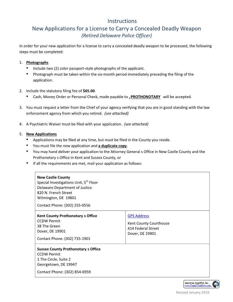 Application For A New License To Carry A Concealed Deadly Weapon Retired Police Officer   Pdf Fpdf Doc Docx   Delaware