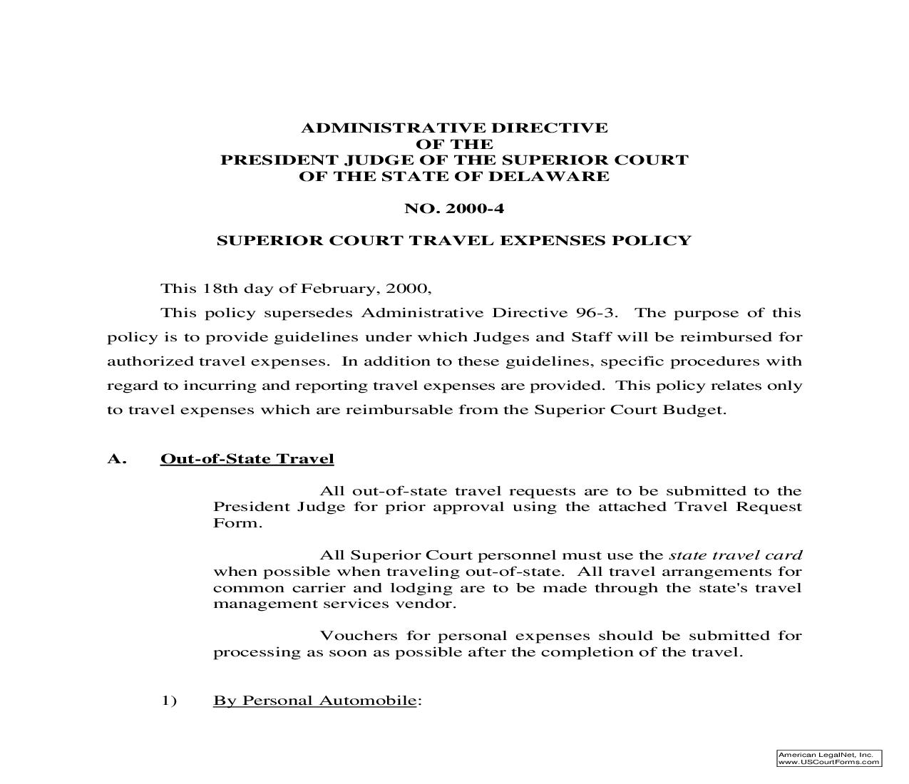 Superior Court Travel Expenses Policy | Pdf Fpdf Doc Docx | Delaware