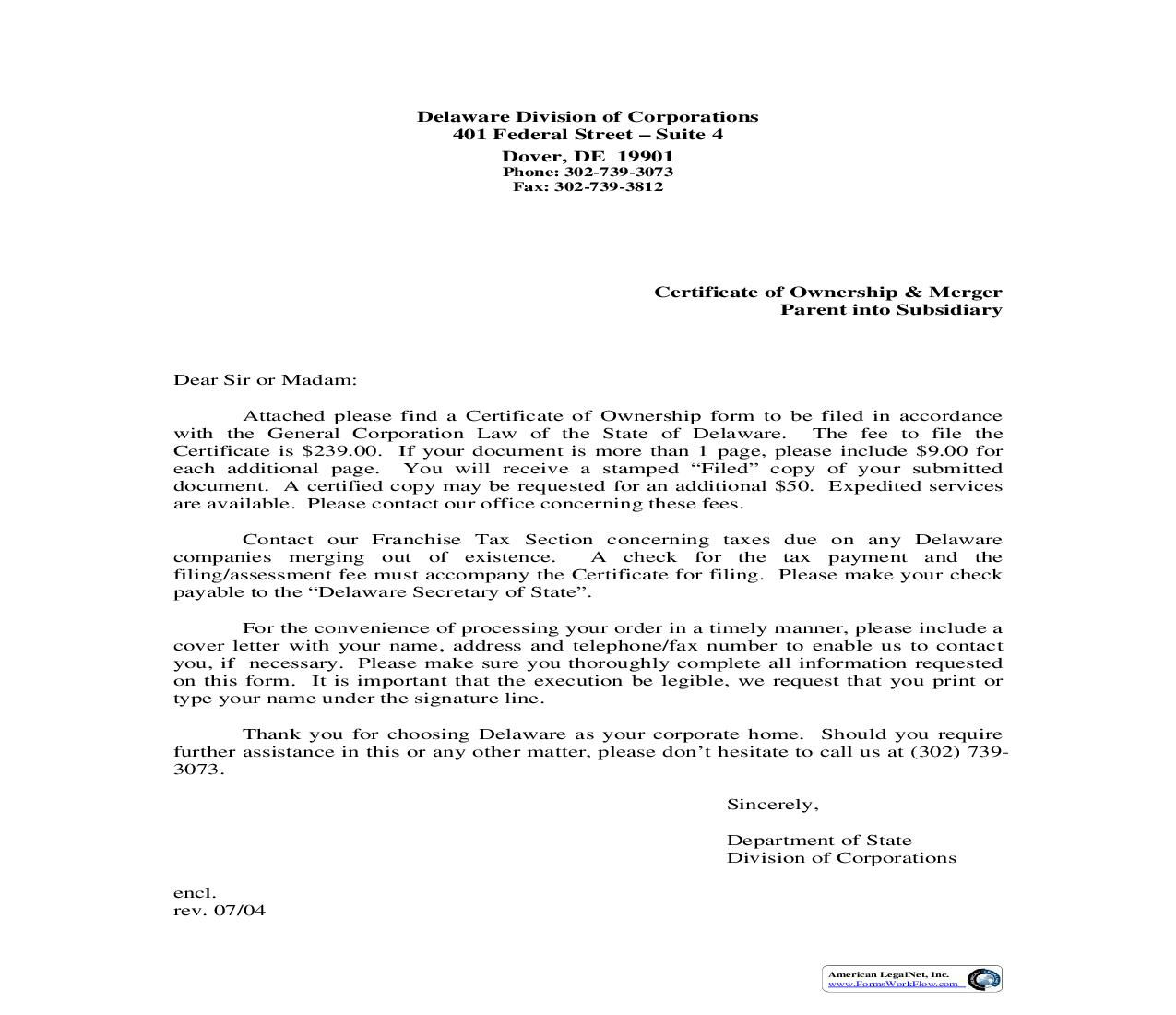 Certificate Of Ownership And Merger - Parent Into Subsidiary   Pdf Fpdf Doc Docx   Delaware