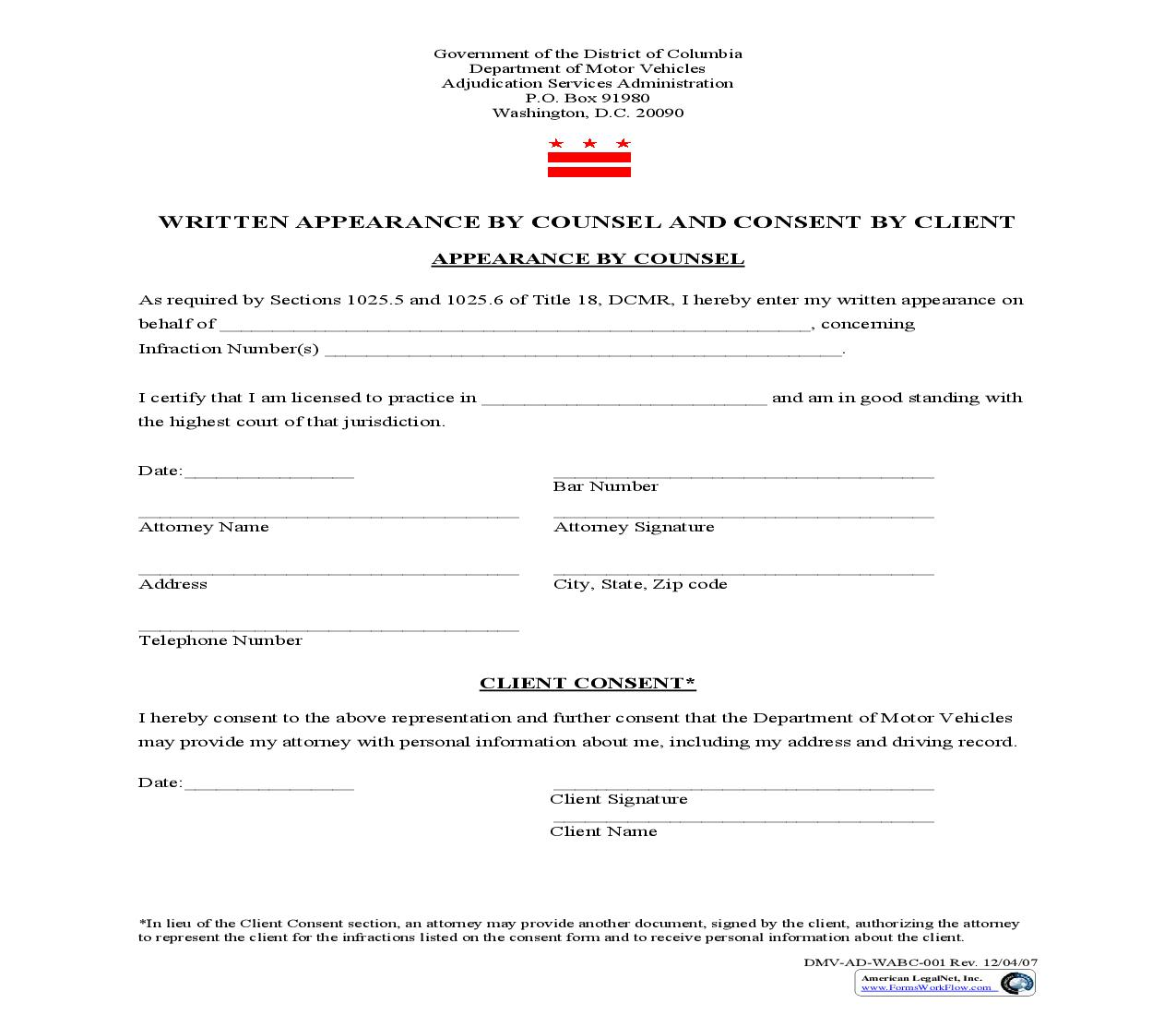 Written Appearance By Counsel And Consent By Client {DMV-AD-WABC-001} | Pdf Fpdf Doc Docx | District Of Columbia