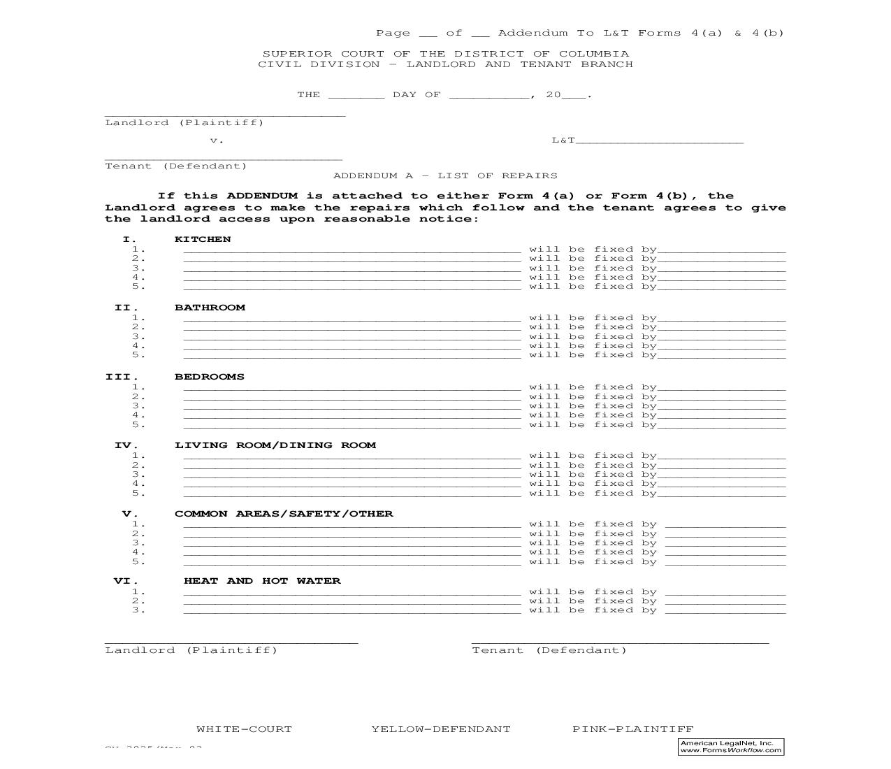 Addendum A List Of Repairs (Addendum To Forms 4(a) And 4(b)) | Pdf Fpdf Doc Docx | District Of Columbia