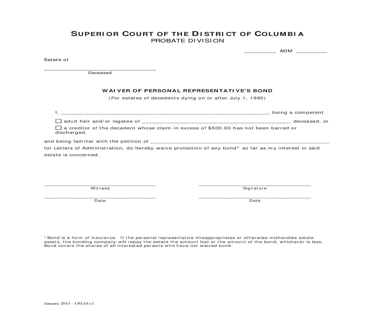 Waiver Of Personal Representatives Bond | Pdf Fpdf Doc Docx | District Of Columbia