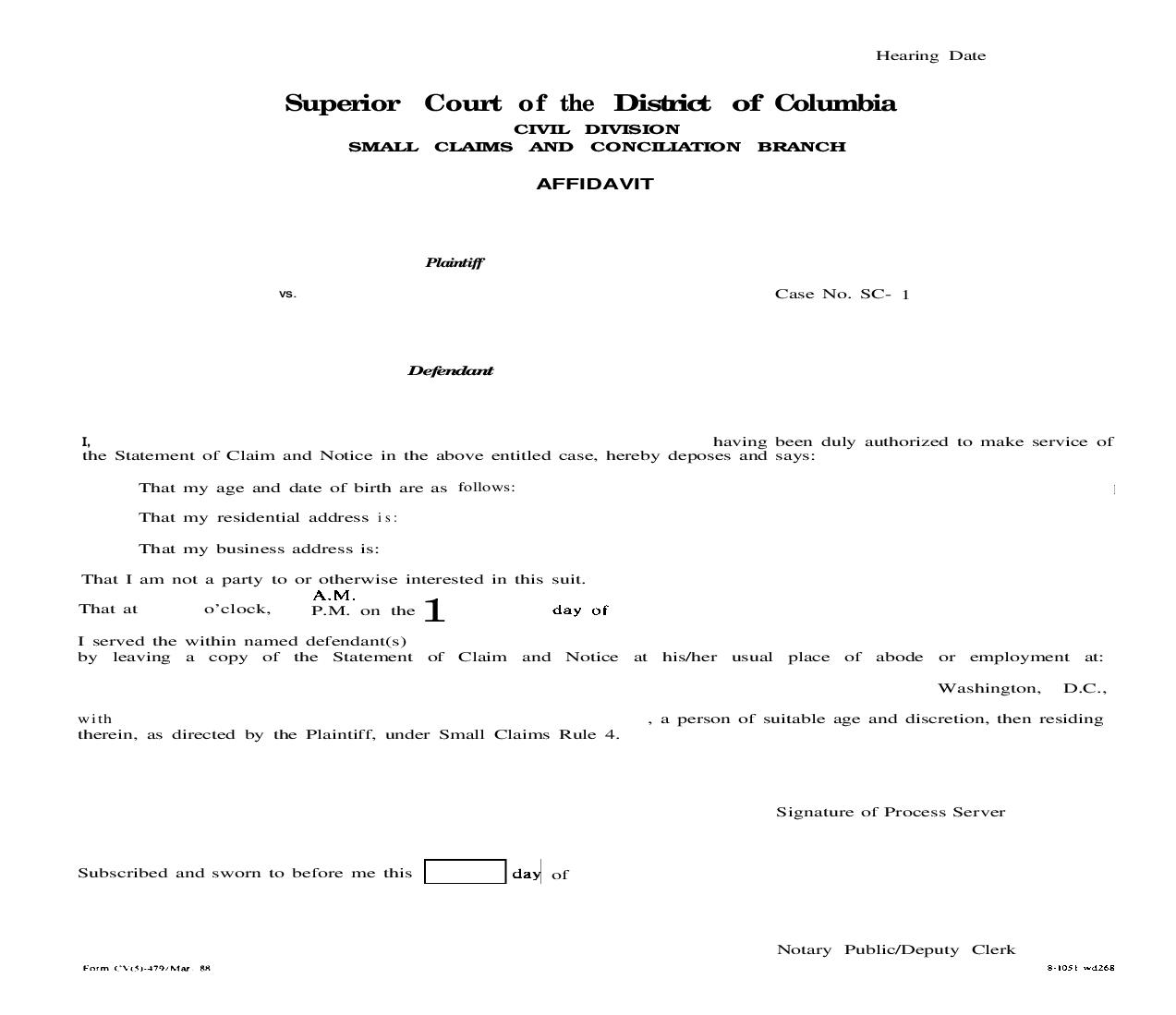 Affidavit (Of Service Of Statement Of Claim And Notice) {CV(5)-479}   Pdf Fpdf Doc Docx   District Of Columbia