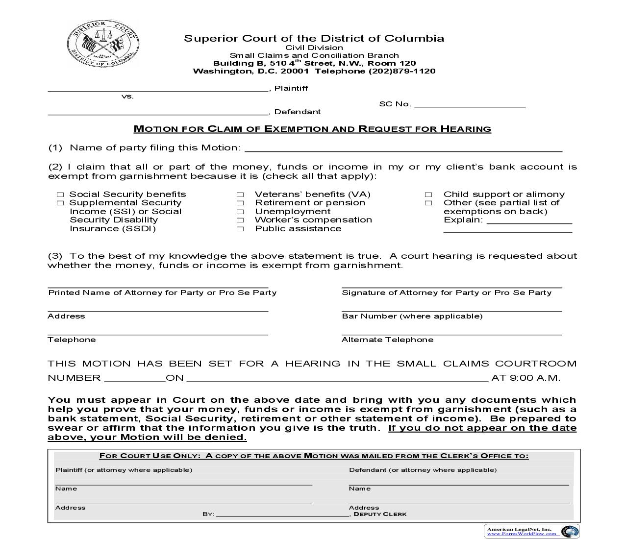 Motion For Claim Of Exemption And Request For Hearing | Pdf Fpdf Doc Docx | District Of Columbia