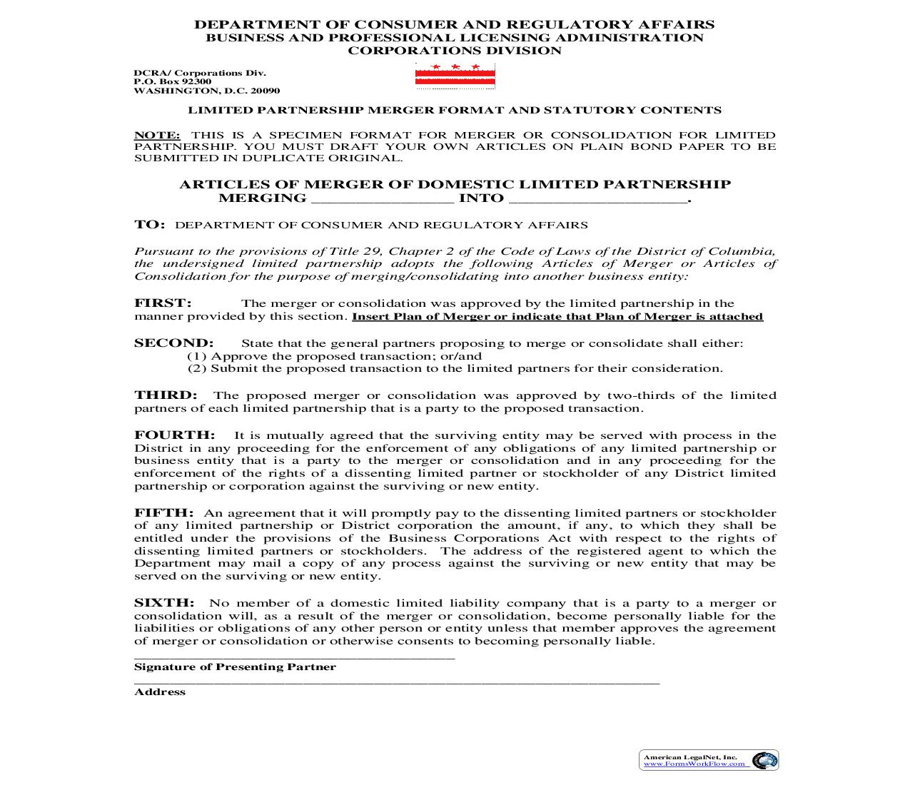 Articles Of Merger Of Domestic Limited Partnership Merging Into   Pdf Fpdf Doc Docx   District Of Columbia