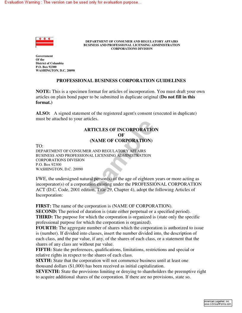 Professional Corporation Guideline | Pdf Doc Docx | District Of Columbia