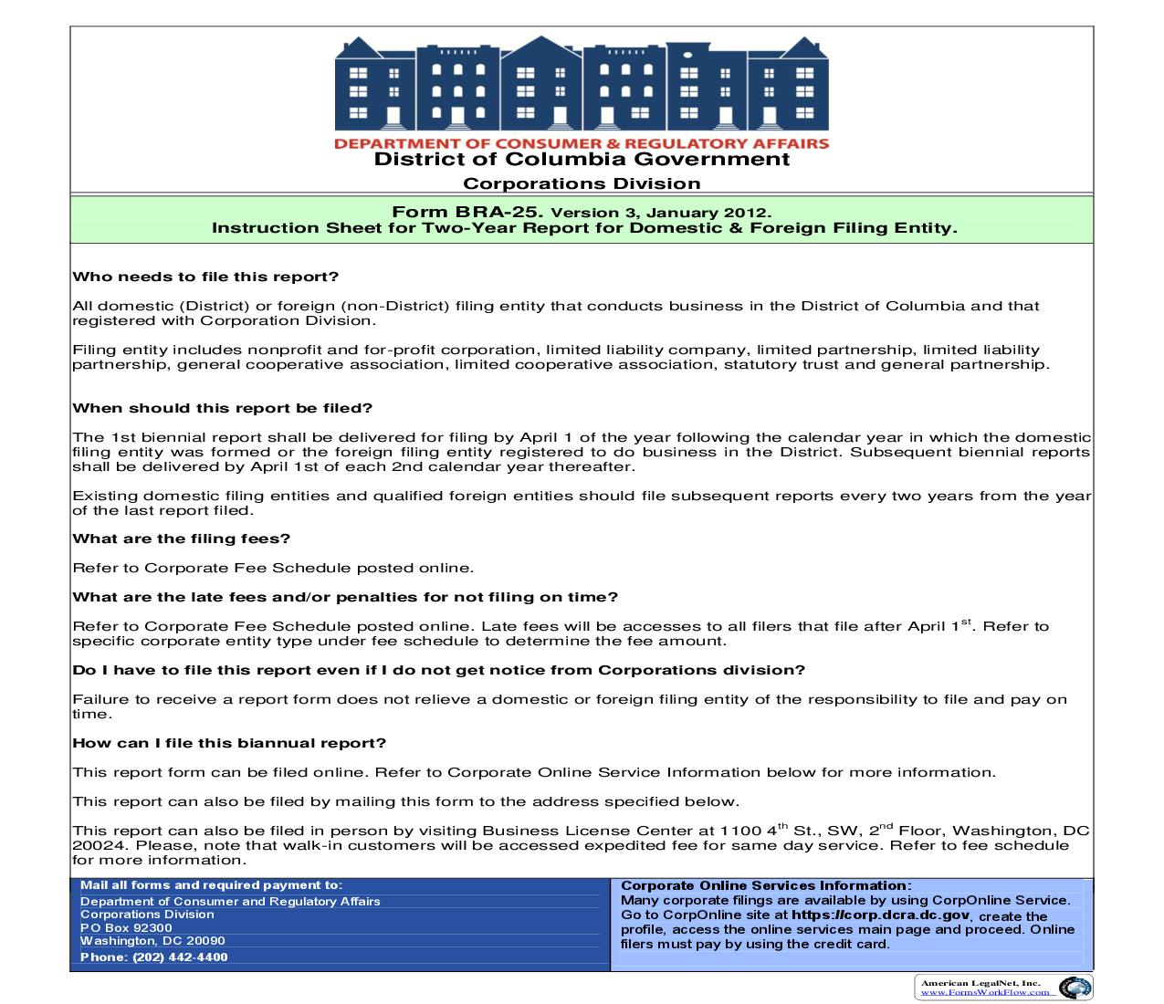 BRA 25 Business Two Year Report For Foreign And Domestic Business Corporations |  | District Of Columbia