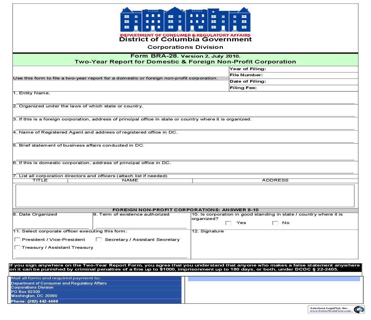 BRA 28 Two Year Report For Domestic And Foreign Non Profir Corporation |  | District Of Columbia