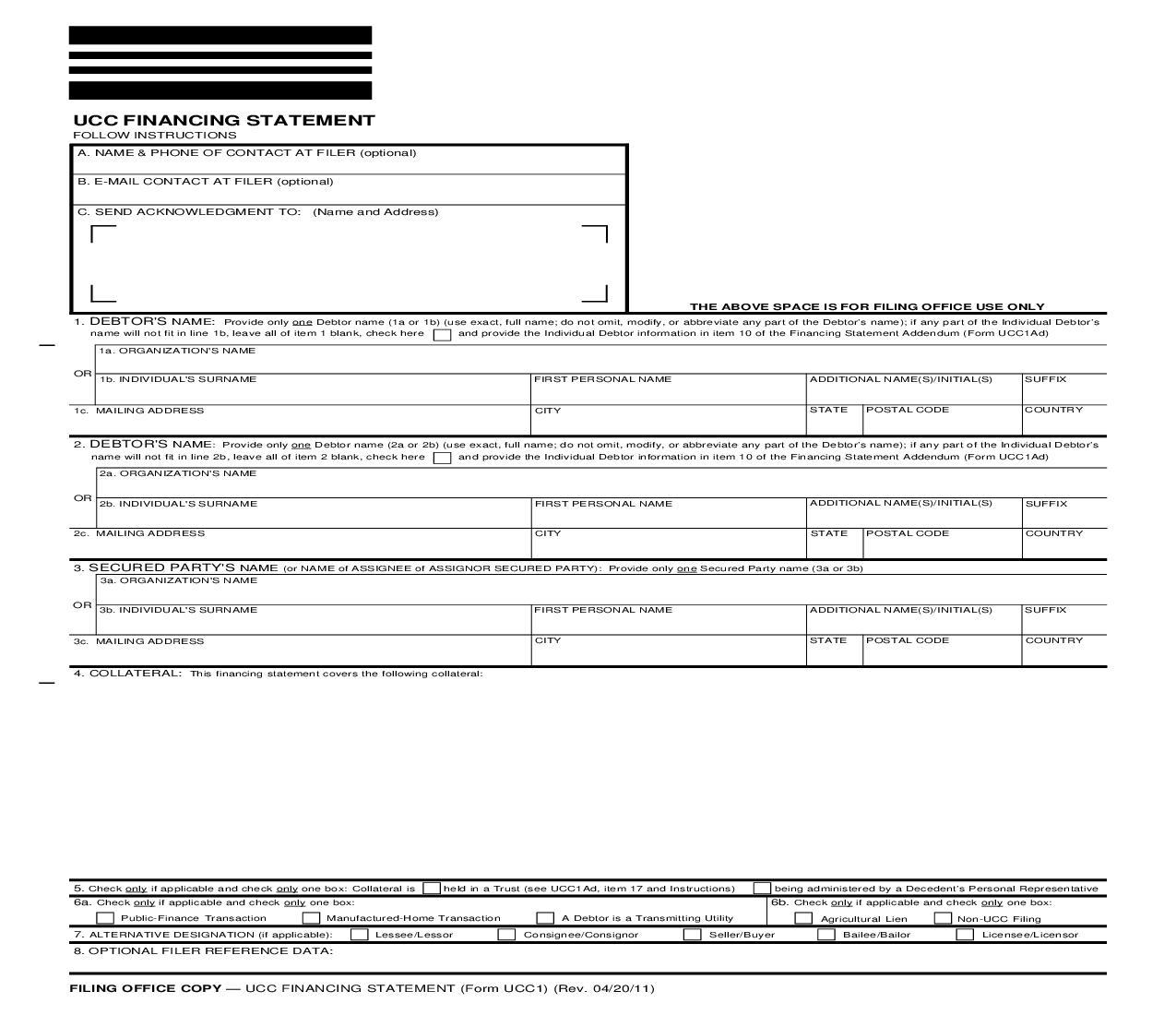UCC1 Financing Statement {UCC1} | Pdf Fpdf Doc Docx | District Of Columbia