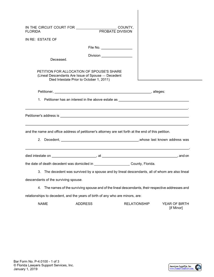 Petition For Allocation Of Spouses Share Lineals Are Issue Of Spouse {P-4.0100} | Pdf Fpdf Doc Docx | FLSSI Probate