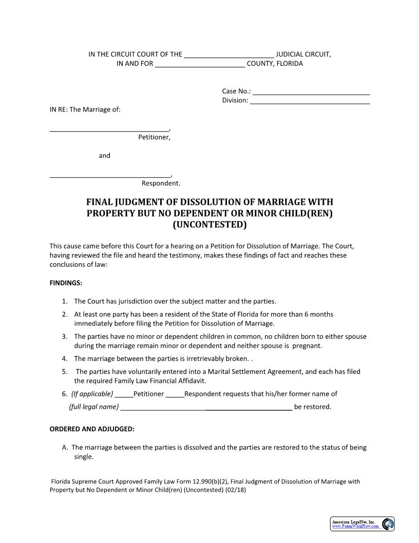 Final Judgment Of Dissolution Of Marriage With Property But No Dependent Or Minor Children Uncontested {12.990(b)(2)} | Pdf Fpdf Docx | Florida