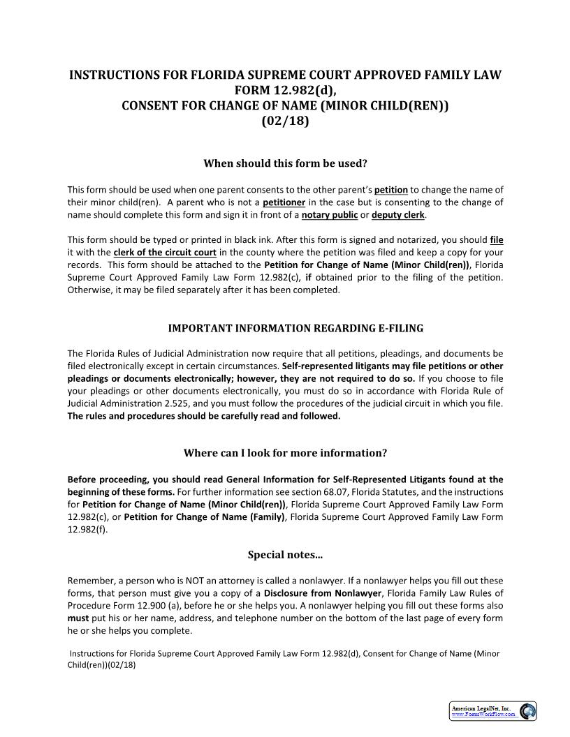Consent For Change Of Name Minor Children w-Instructions {12.982(d)} | Pdf Fpdf Docx | Florida