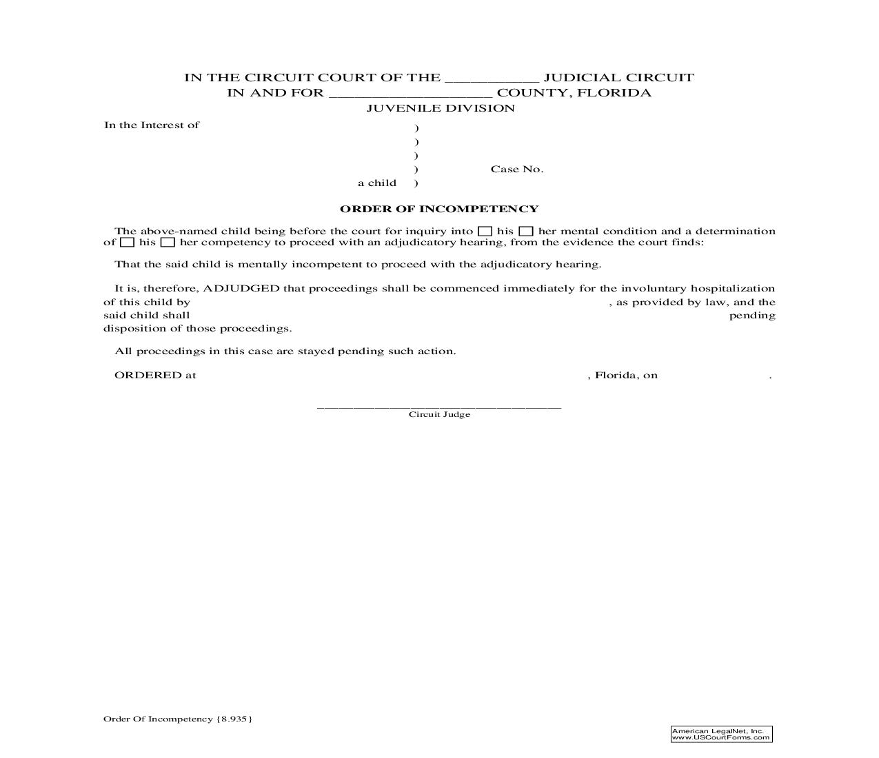 Order Of Incompetency {8.935} | Pdf Fpdf Doc Docx | Florida
