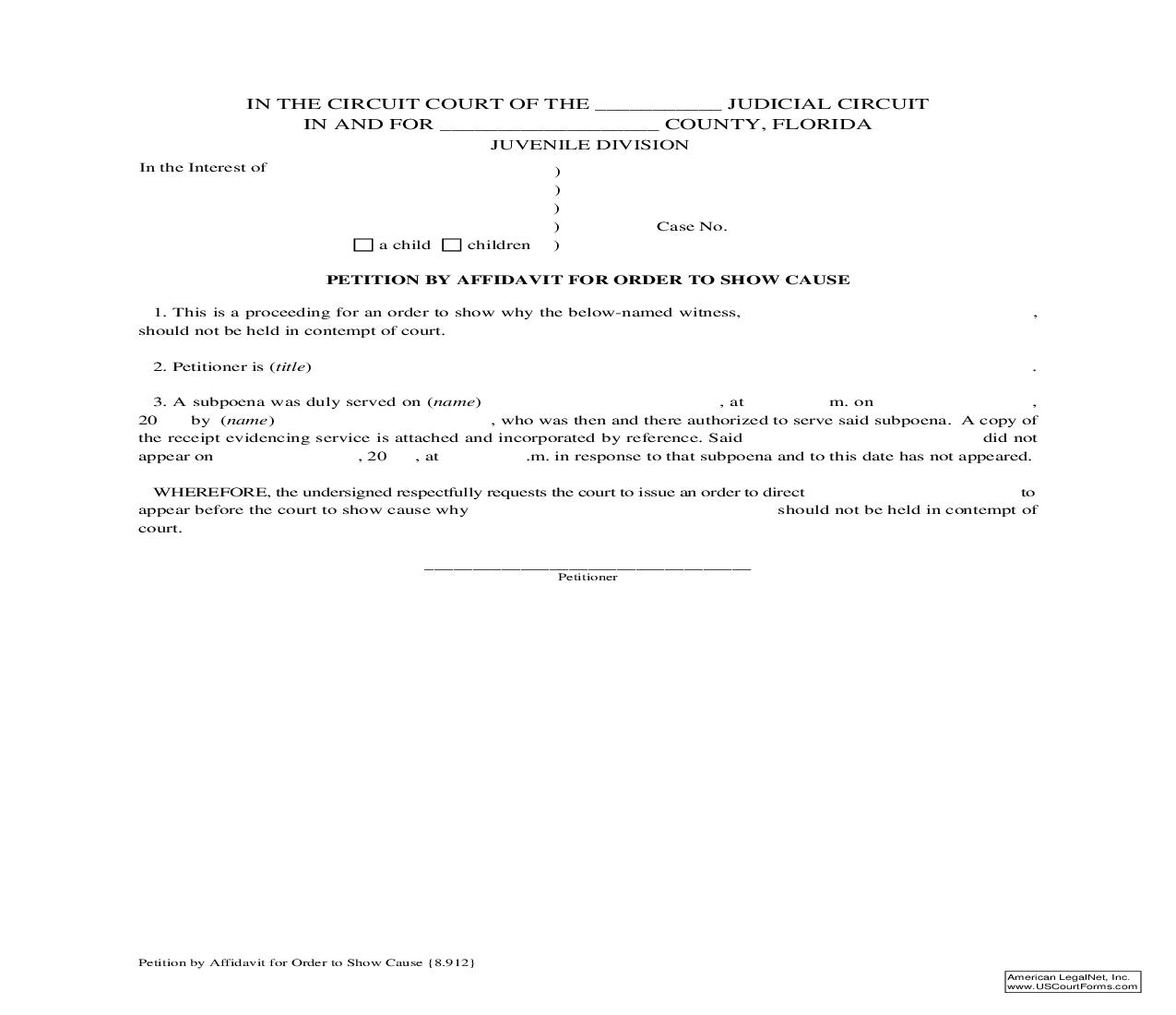 Petition By Affidavit For Order To Show Cause {8.912} | Pdf Fpdf Doc Docx | Florida