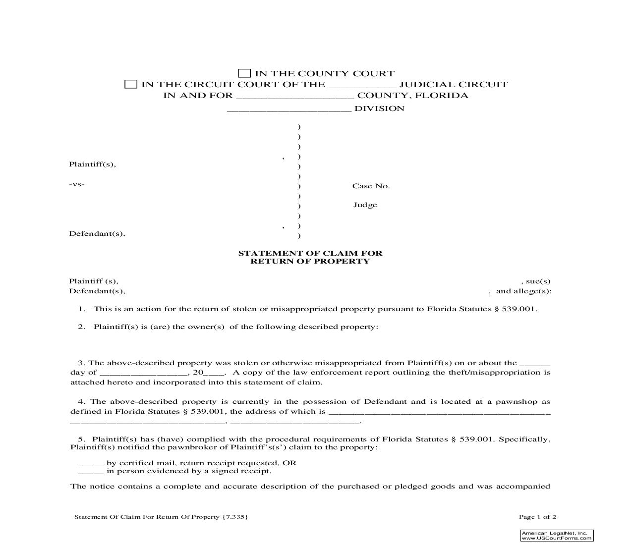 Statement Of Claim For Return Of Property {7.335} | Pdf Fpdf Doc Docx | Florida