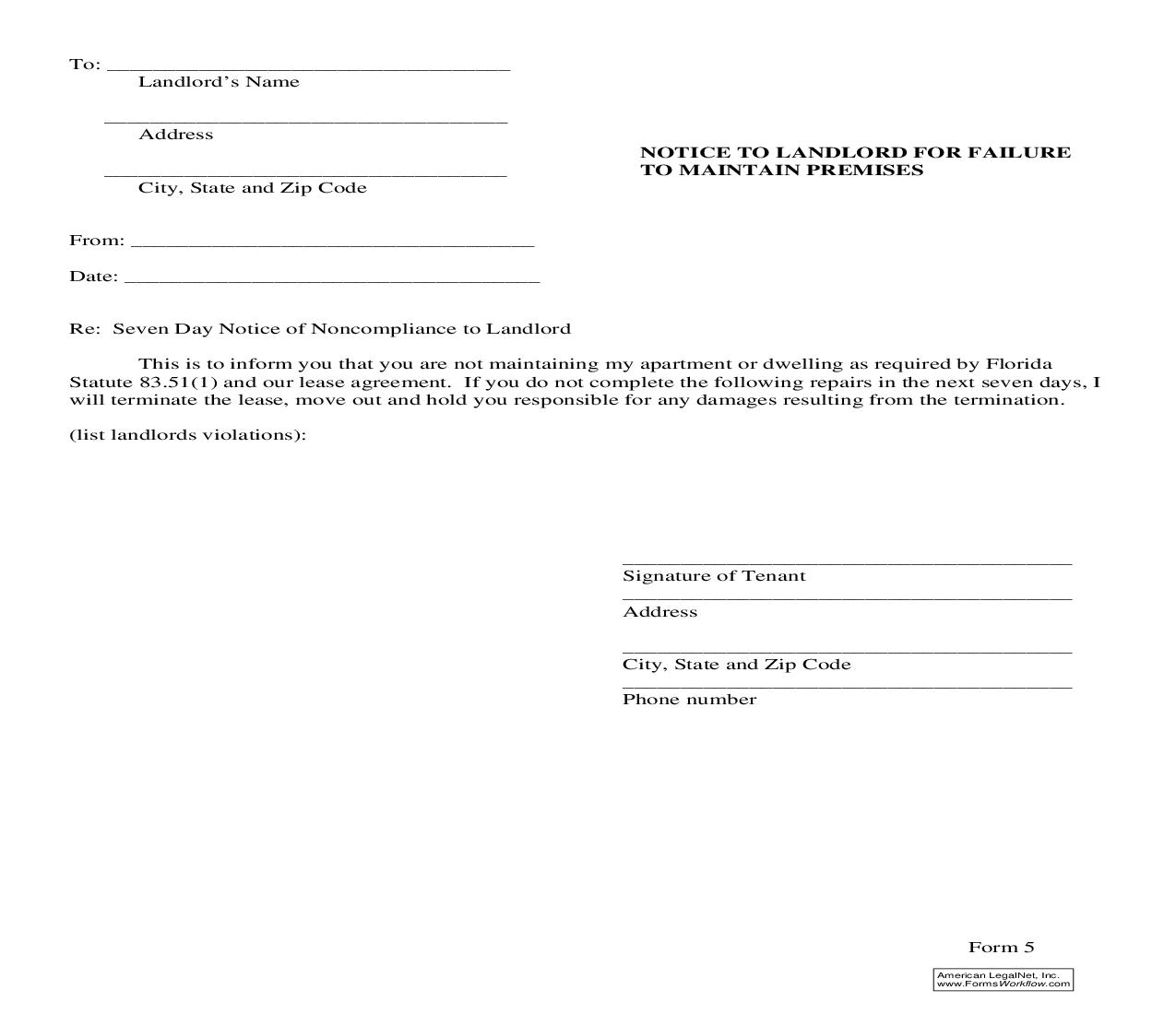 Notice To Landlord For Failure To Maintain Premises {5} | Pdf Fpdf Doc Docx | Florida