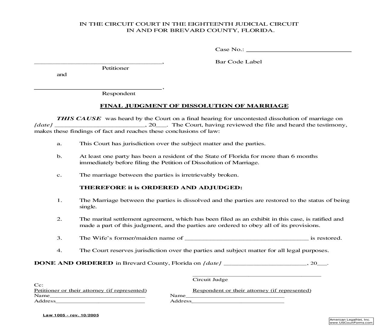 Final Judgment Of Dissolution Of Marriage With Property But No Dependent Or Minor Children (Uncontested) {Law 1005} | Pdf Fpdf Doc Docx | Florida