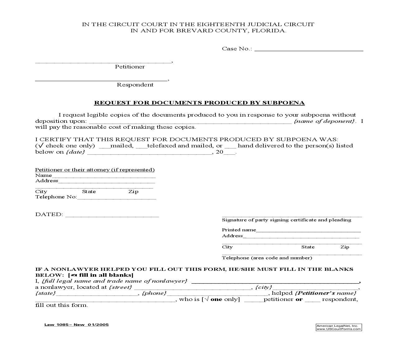 Request For Documents Produced By Supoena {Law 1085} | Pdf Fpdf Doc Docx | Florida