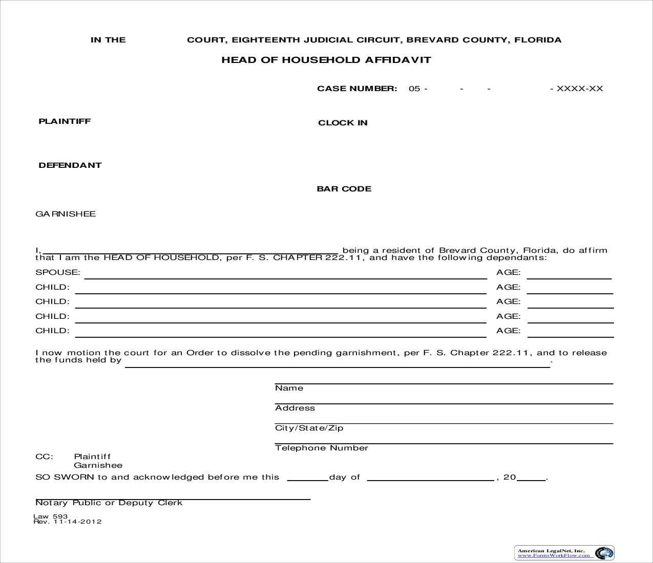 Head Of Household Affidavit {Law 593} | Pdf Fpdf Doc Docx | Florida