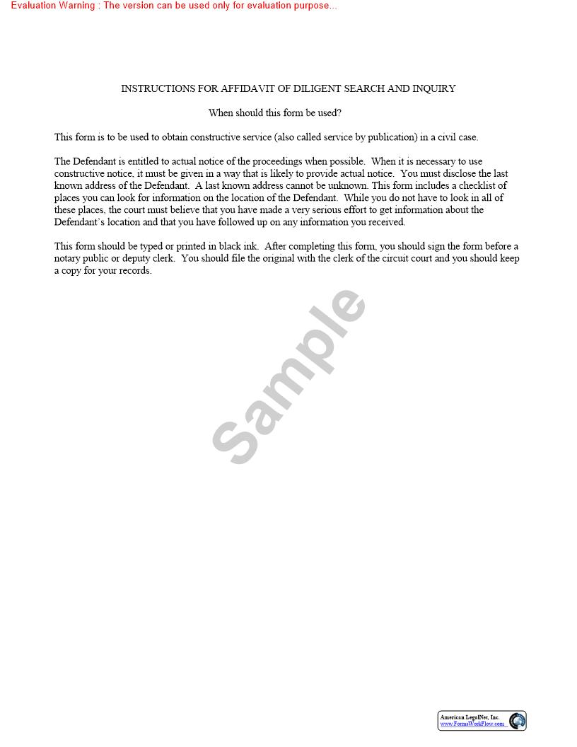 Affidavit Of Diligent Search And Inquiry   Pdf Fpdf Doc Docx   Florida