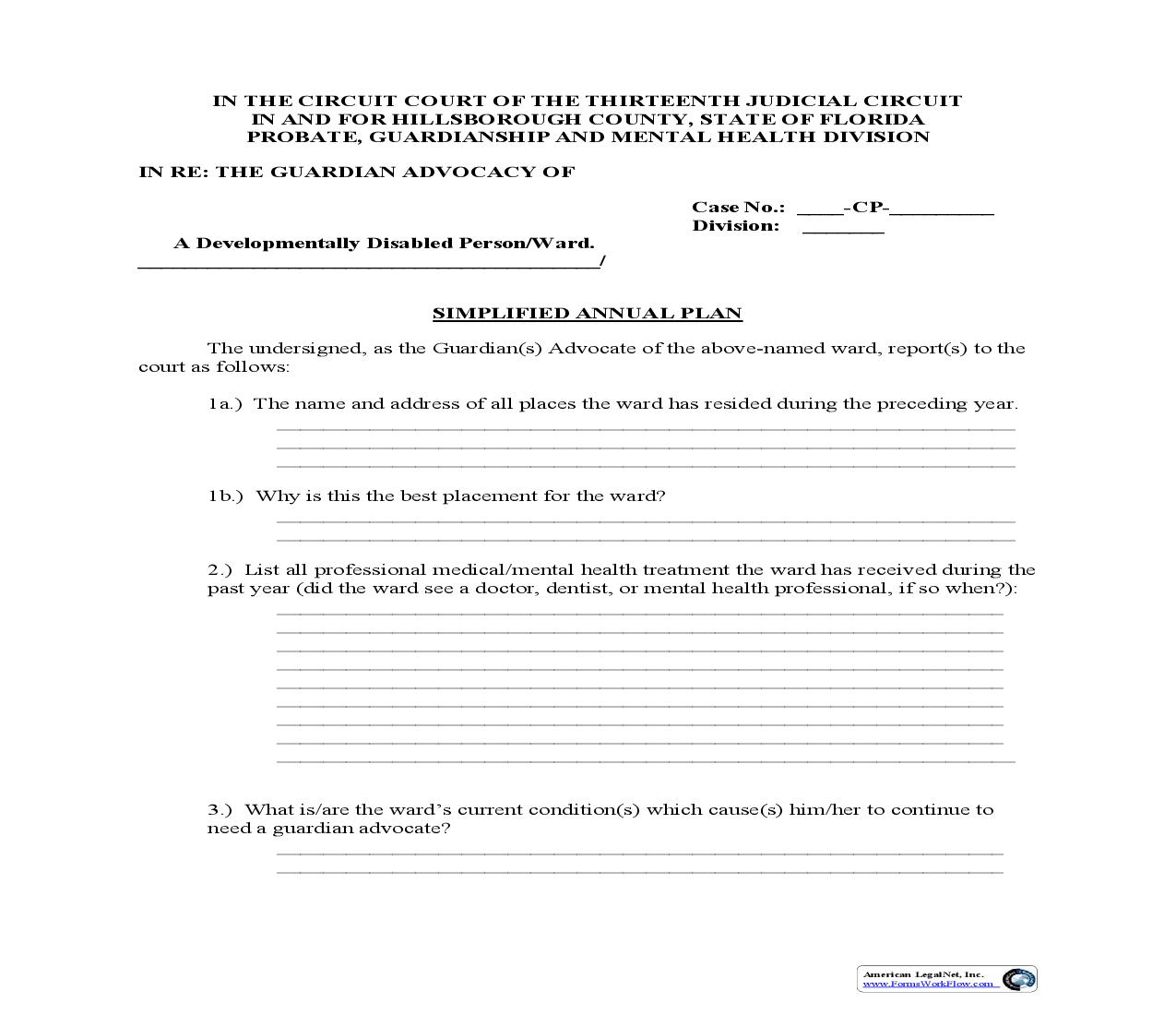 Simplified Annual Plan For Guardian Advocate | Pdf Fpdf Doc Docx | Florida