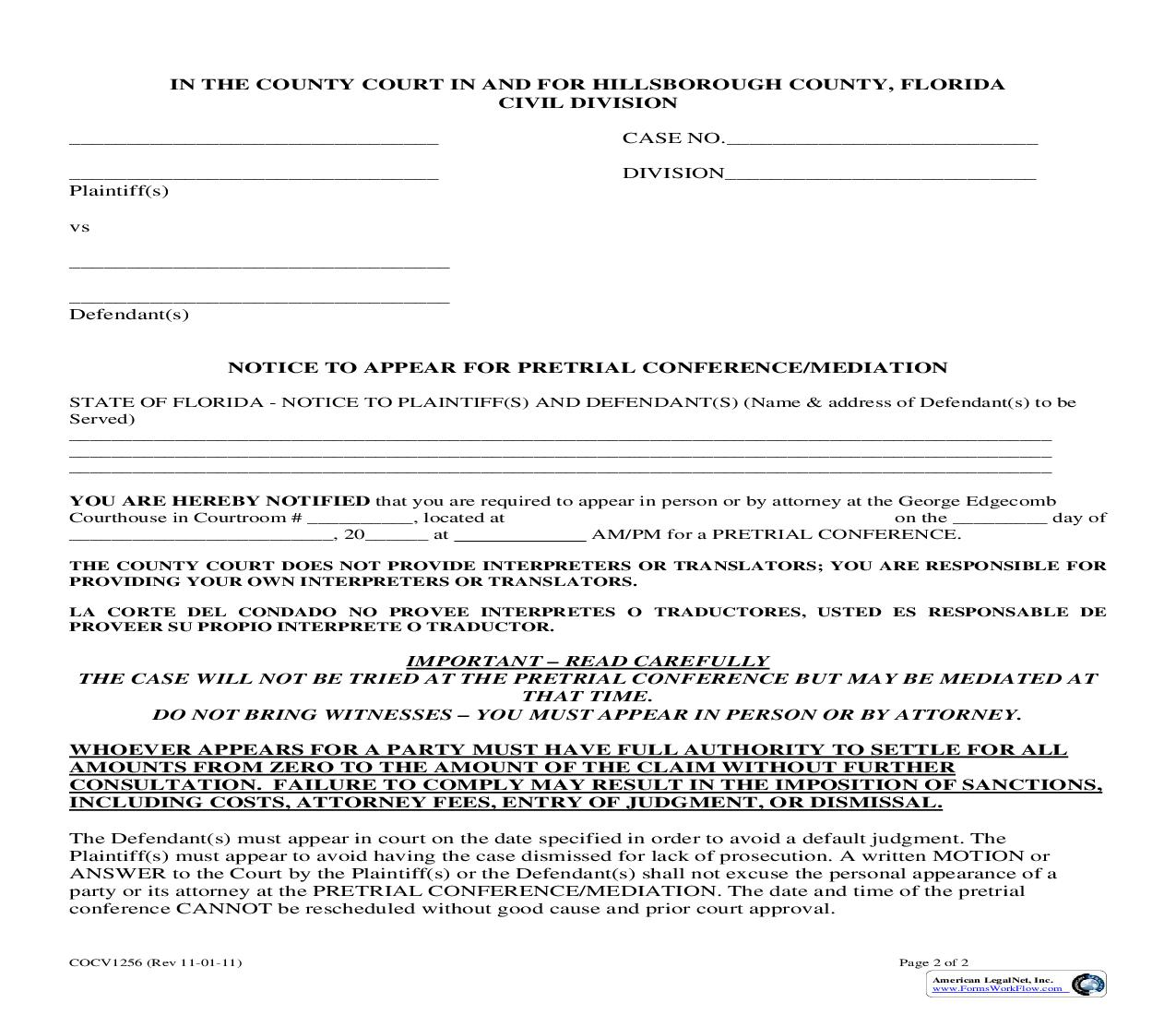 Notice To Appear For Pretrial Conference {COCV1256} | Pdf Fpdf Doc Docx | Florida