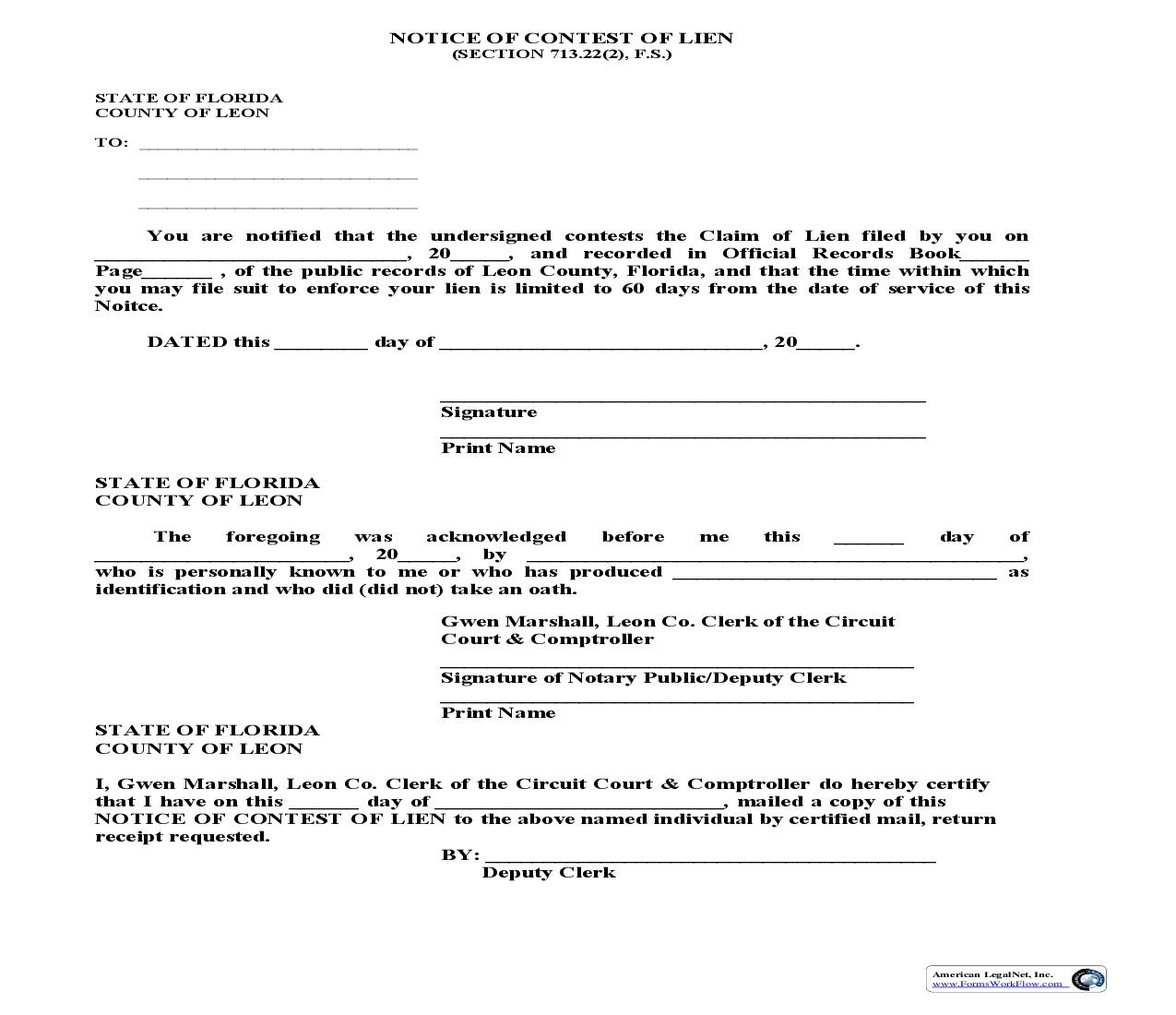 Notice Of Contest Of Lien | Pdf Fpdf Doc Docx | Florida