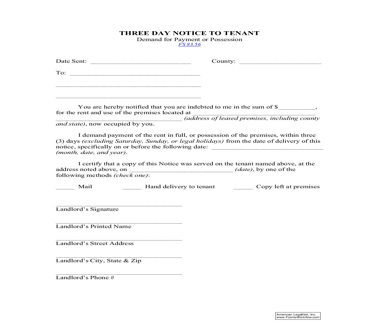 Three Day Notice To Tenant (Demand For Payment Or Possession)   Pdf Fpdf Doc Docx   Florida