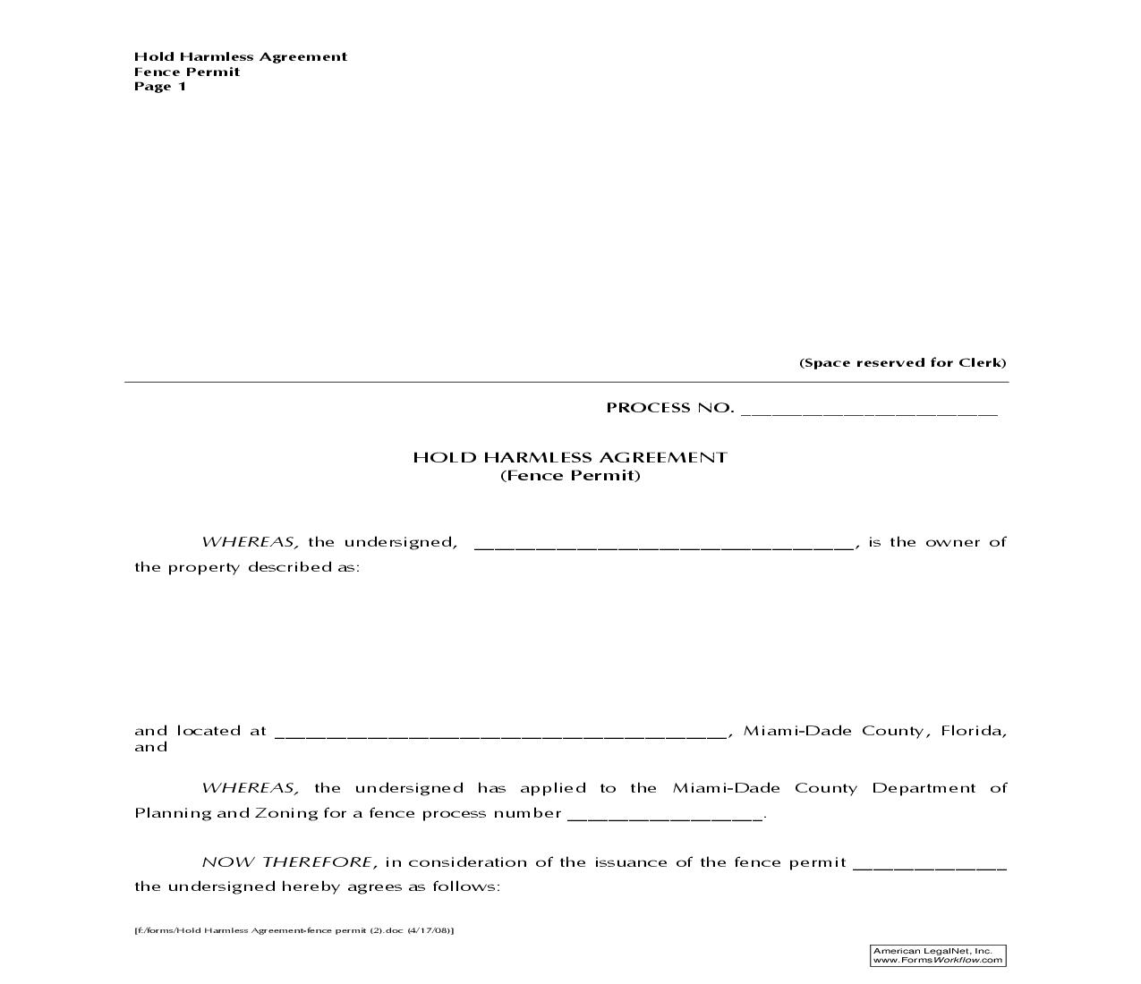 Hold Harmless Agreement (Fence Permit) | Pdf Fpdf Doc Docx | Florida