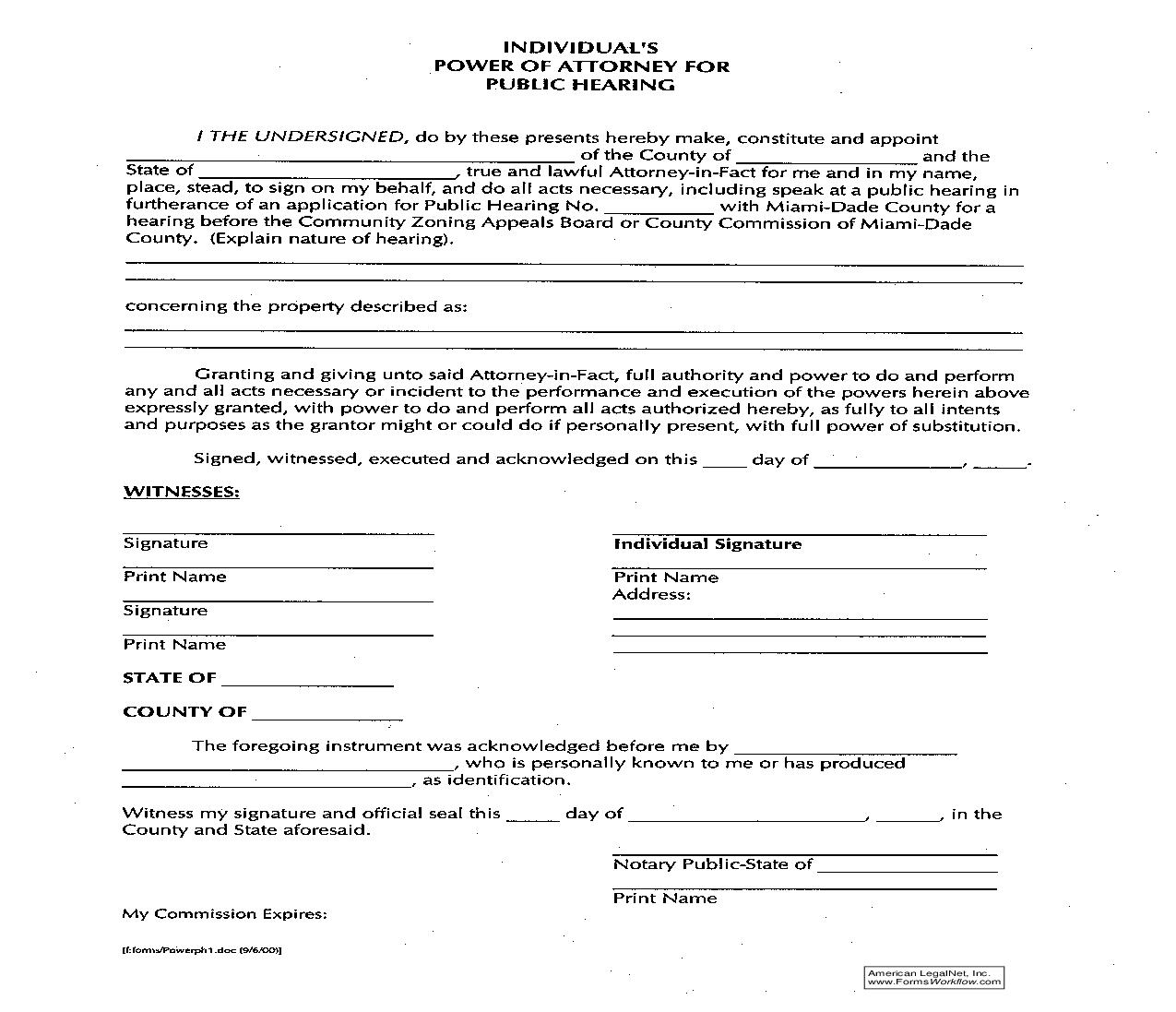 Individuals Power Of Attorney For Public Hearing | Pdf Fpdf Doc Docx | Florida