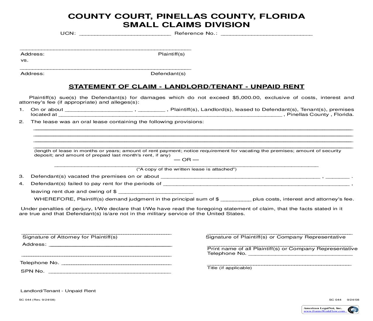 Statement Of Claim - Landlord-Tenant - Unpaid Rent | Pdf Fpdf Doc Docx | Florida