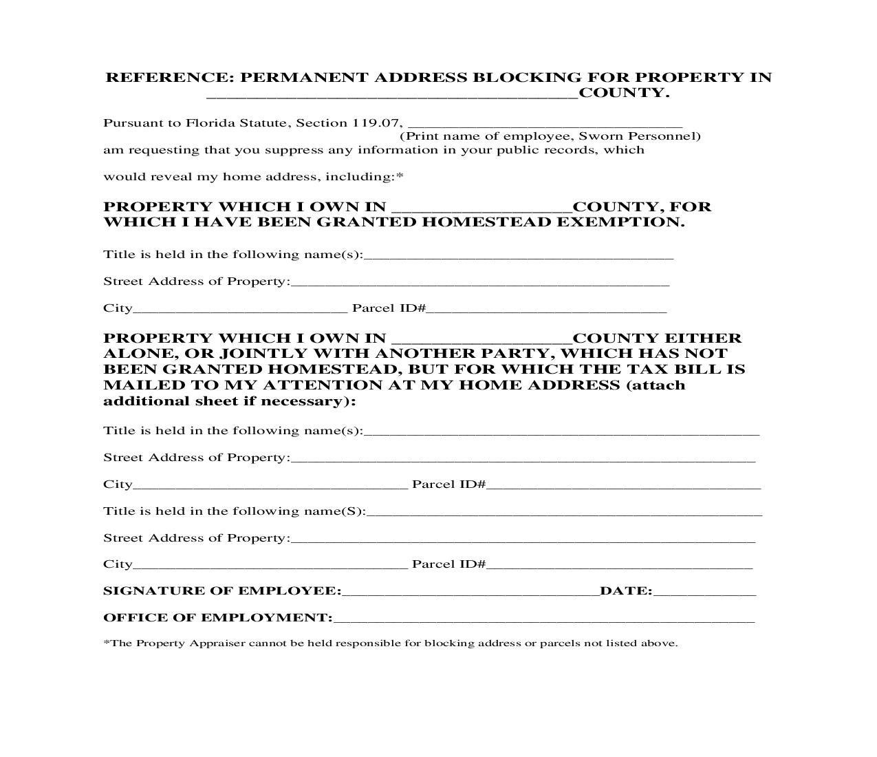 Property Appraiser Request For Address Block | Pdf Fpdf Doc Docx | Florida