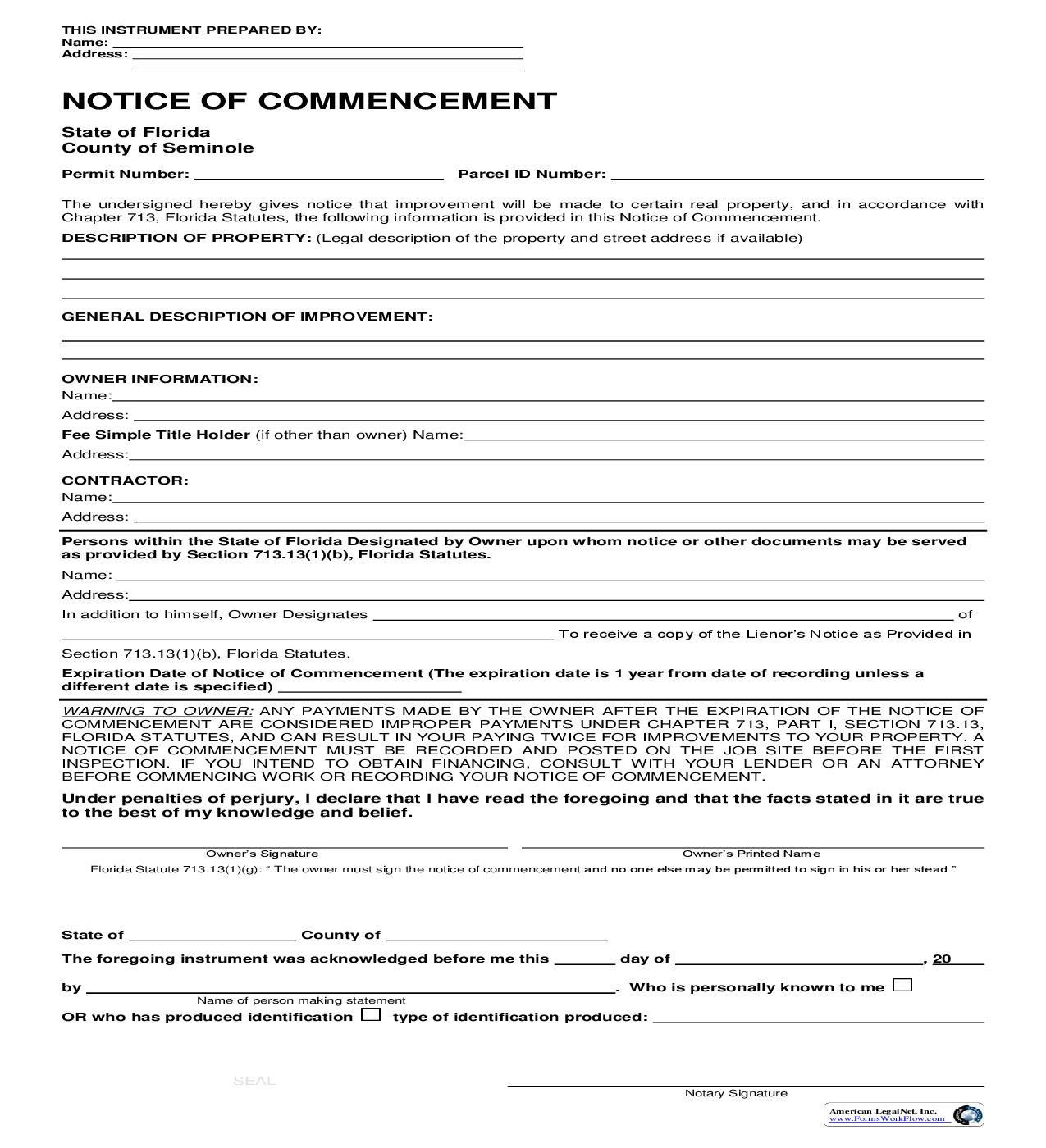 Notice Of Commencement | Pdf Fpdf Doc Docx | Florida