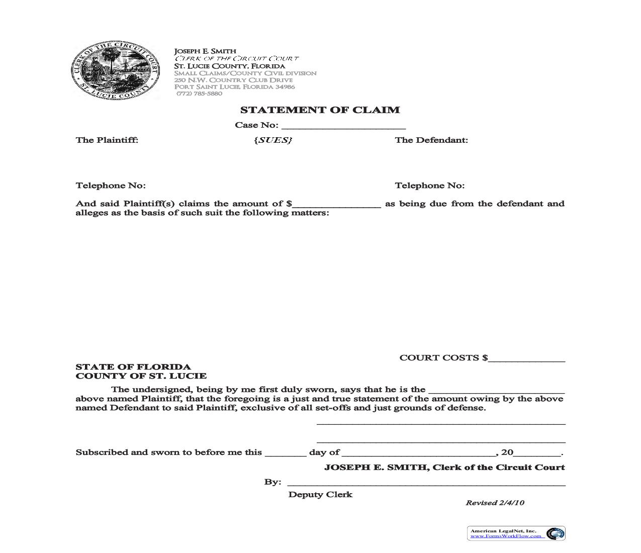Statement Of Claim {145H} | Pdf Fpdf Doc Docx | Florida