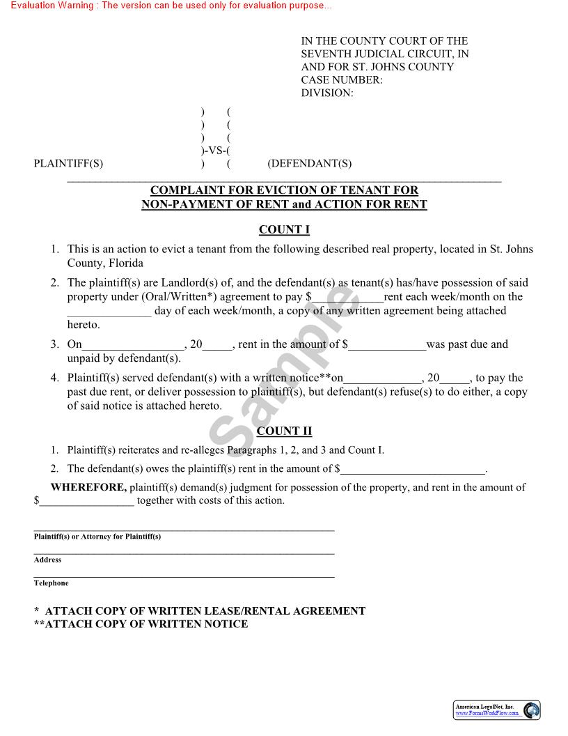 Complaint For Eviction Of Tenant For Nonpayment Of Rent And Action For Rent | Pdf Fpdf Doc Docx | Florida