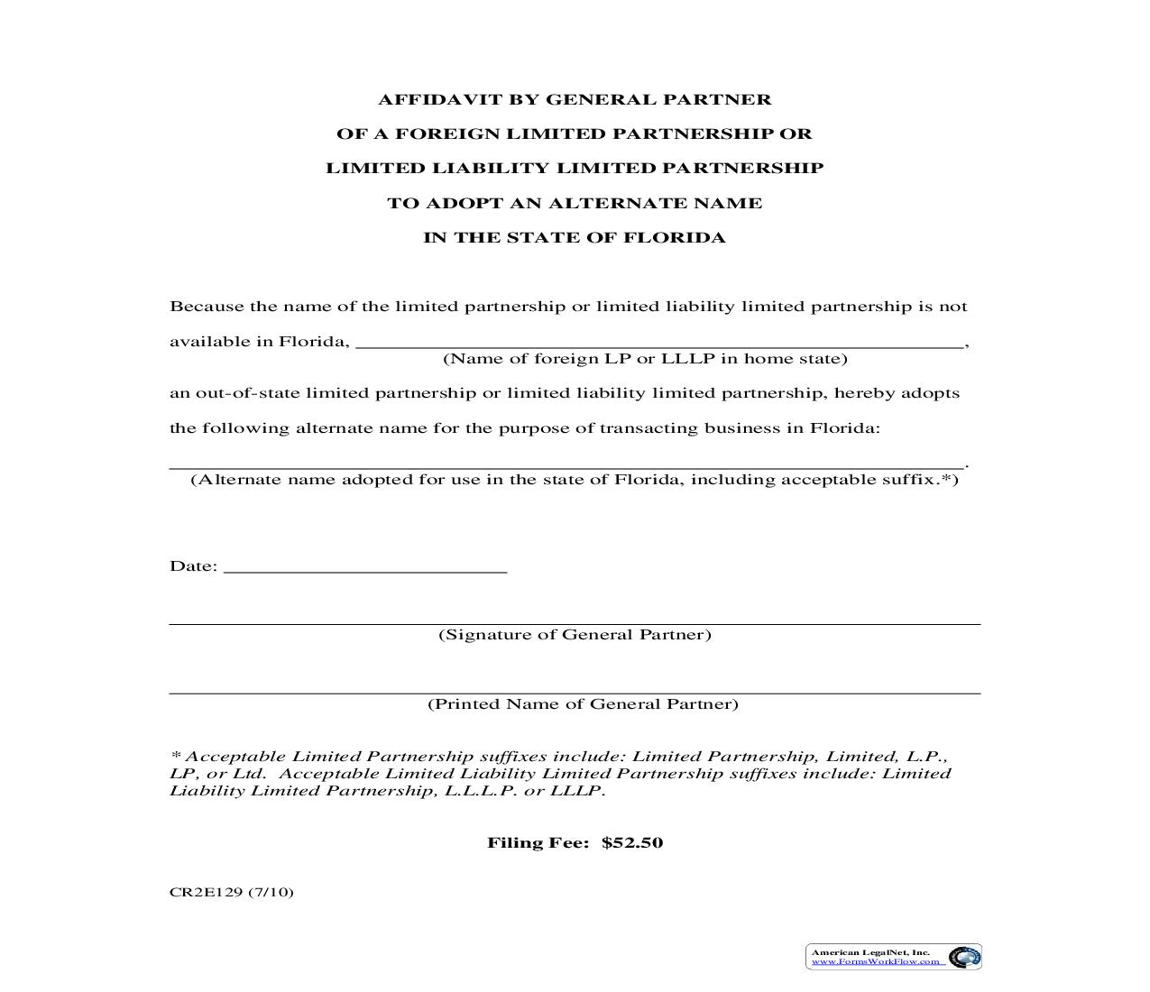 Affidavit By General Partner Of Foreign LP Or LLLP To Adopt Alternate Name {CR2E129} | Pdf Fpdf Doc Docx | Florida
