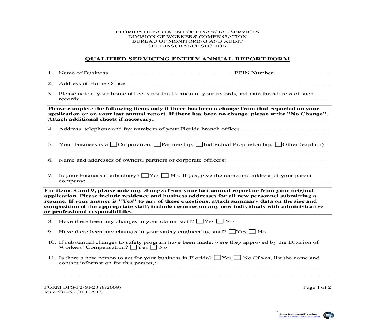 Qualified Servicing Entity Annual Report Form {SI-23} | Pdf Fpdf Doc Docx | Florida