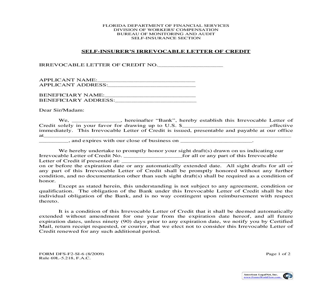 Self-Insurers Irrevocable Letter Of Credit {SI-6} | Pdf Fpdf Doc Docx | Florida