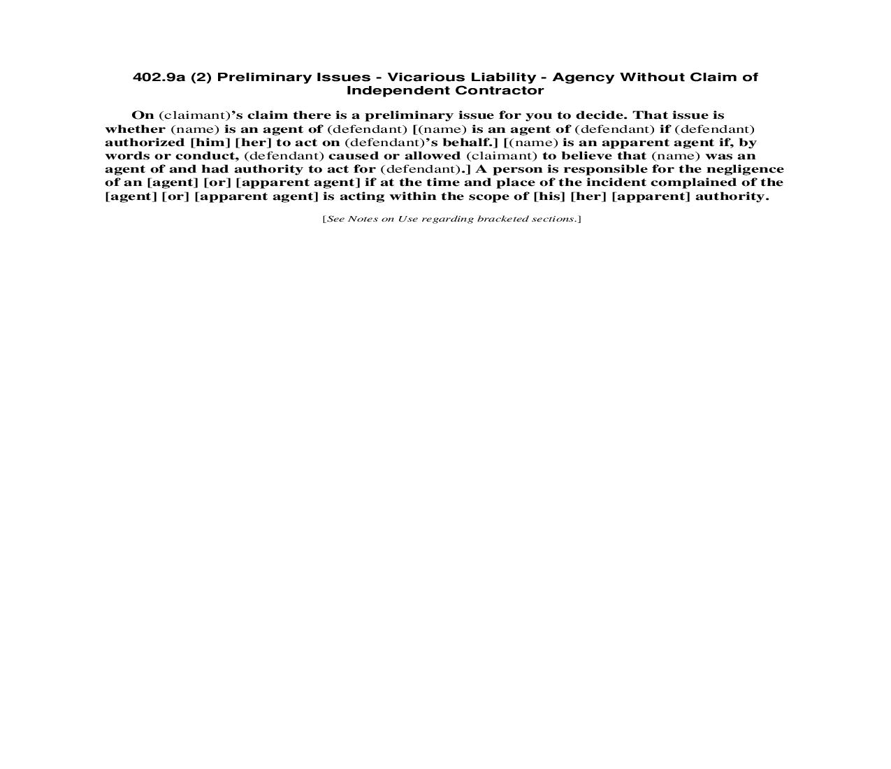 402.9a (2) Preliminary Issues - Vicarious Liability - Agency Without Claim of Independent Contractor | Pdf Doc Docx | Florida_JI