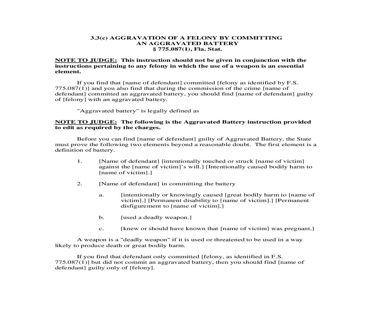 3.3(c). Aggravation of a Felony by Committing an Aggravated Battery | Pdf Doc Docx | Florida_JI