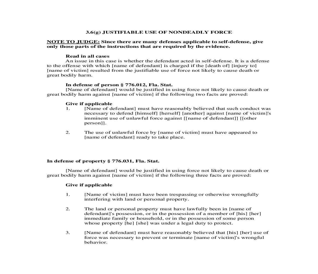 3.6(g). Justifiable Use Of Non Deadly Force | Pdf Doc Docx | Florida_JI