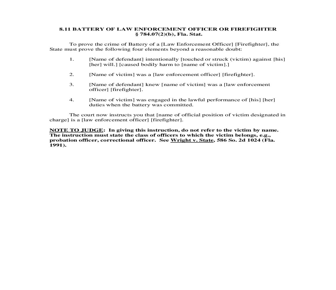 8.11. Battery Of Law Enforcement Officer or Firefighter | Pdf Doc Docx | Florida_JI