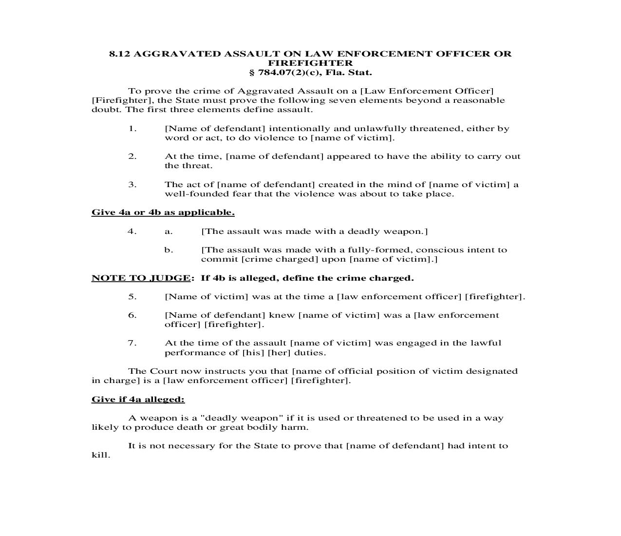 8.12. Aggravated Assault On Law Enforcement Officer Or Firefighter | Pdf Doc Docx | Florida_JI