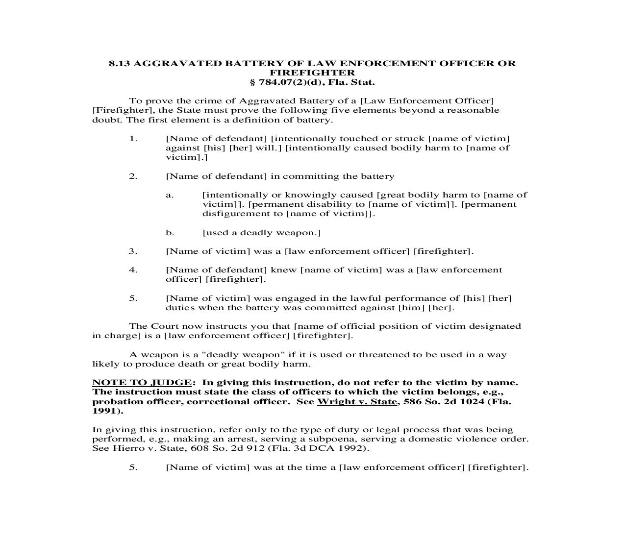 8.13. Aggravated Battery Of Law Enforcement Officer Or Firefighter | Pdf Doc Docx | Florida_JI