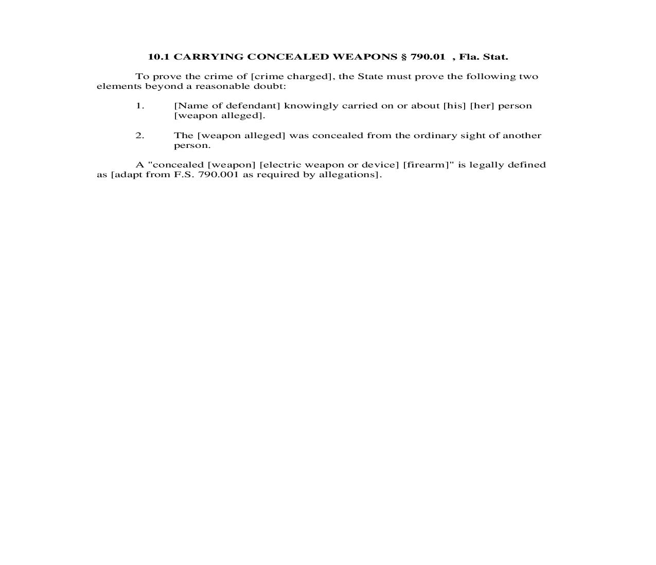 10.1. Carrying Concealed Weapons | Pdf Doc Docx | Florida_JI