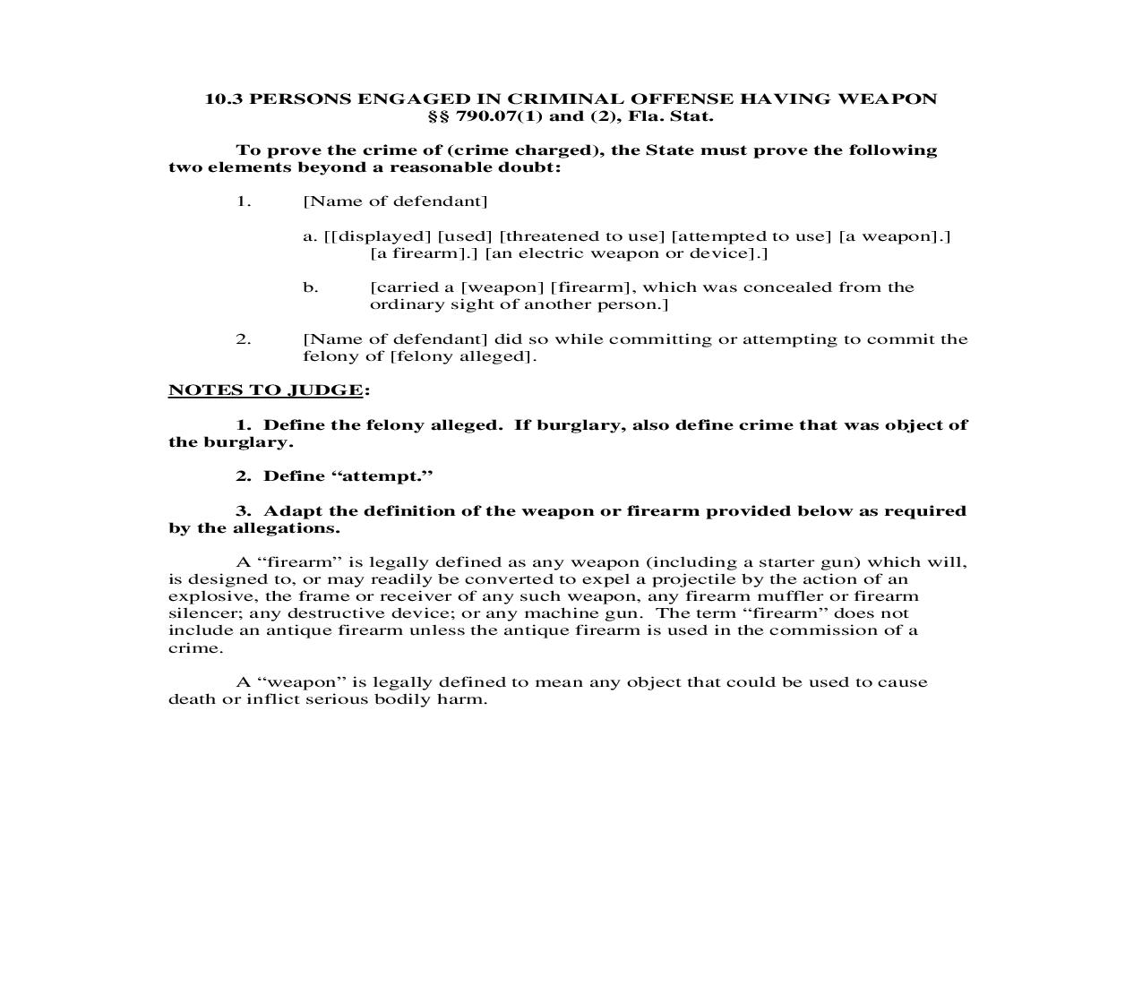 10.3. Persons Engaged In Criminal Offense Having Weapon | Pdf Doc Docx | Florida_JI
