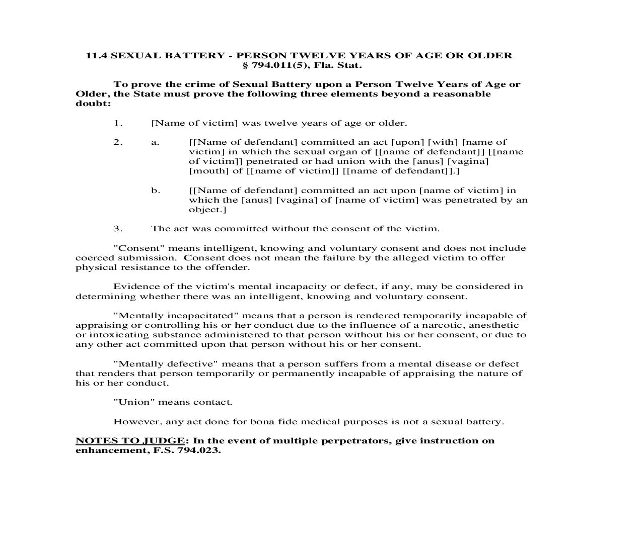 11.4. Sexual Battery - Person Twelve Years Of Age Or Older | Pdf Doc Docx | Florida_JI
