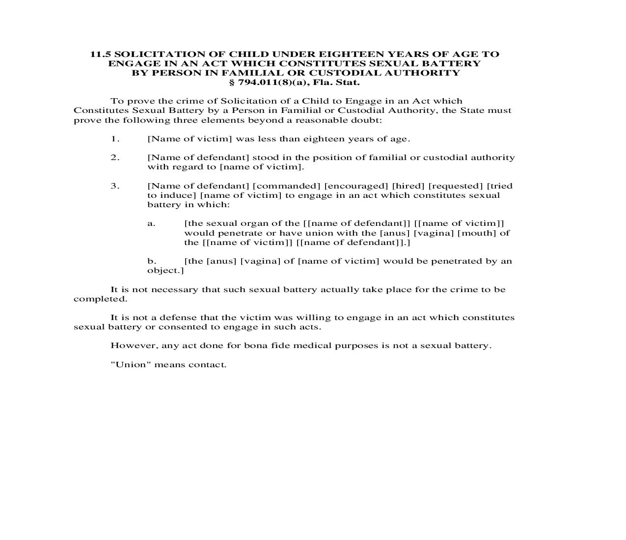 11.5. Solicitation Of Child Under Eighteen Years Of Age To Engage In An Act Which Constitutes Sexual Battery By Person In Familial Or Custodial Authority   Pdf Doc Docx   Florida_JI