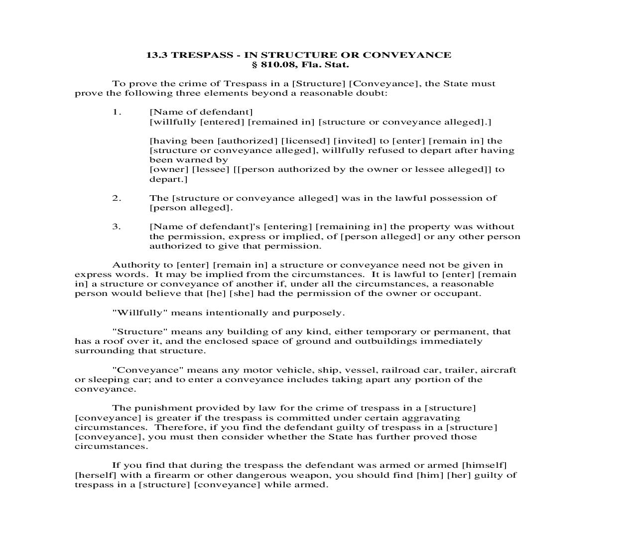 13.3. Trespass - In Structure Or Conveyance   Pdf Doc Docx   Florida_JI